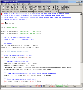 Screenshot of Frink emacs mode